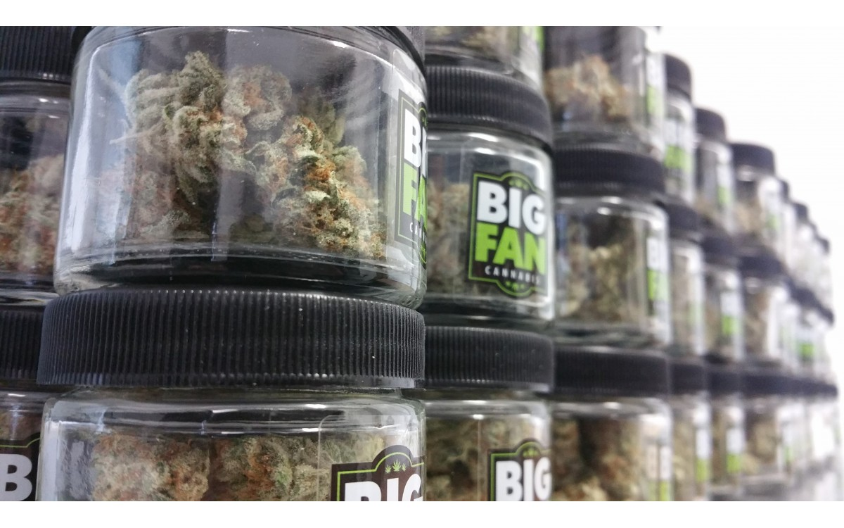 close up view of Big Fan cannabis labels