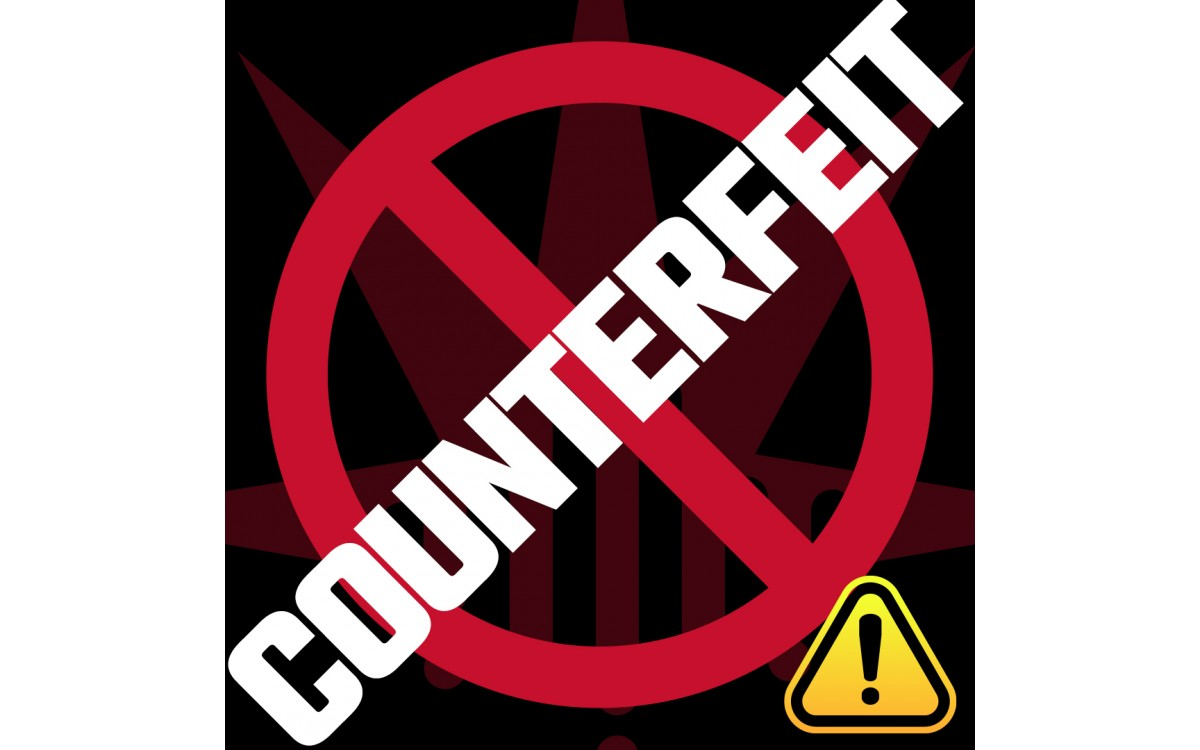 """graphic with text """"Counterfeit"""""""