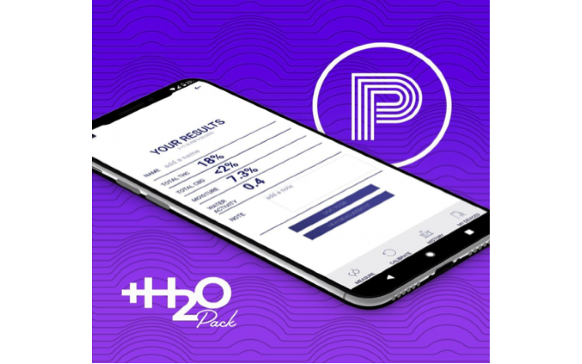 purple graphic of purpl PRO +H2O pack with smartphone app