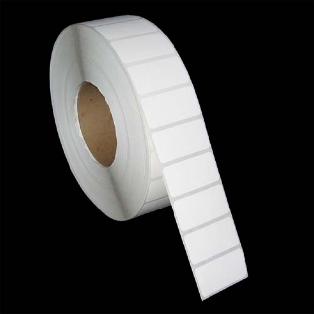 "2x1 inkjet gloss paper labels rolls - 8"" roll OD, 3"" core"