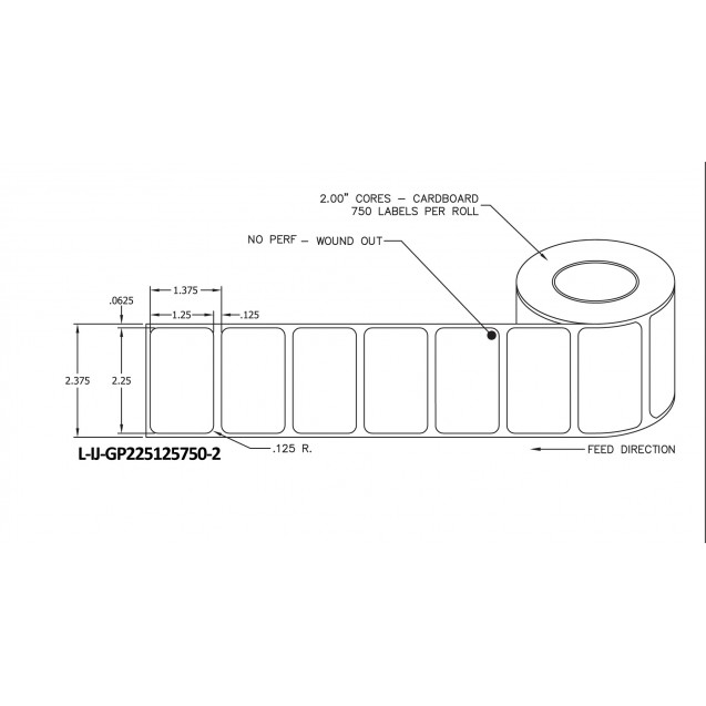 "2.25x1.25 inkjet gloss paper labels rolls - 4"" roll OD, 2"" core"