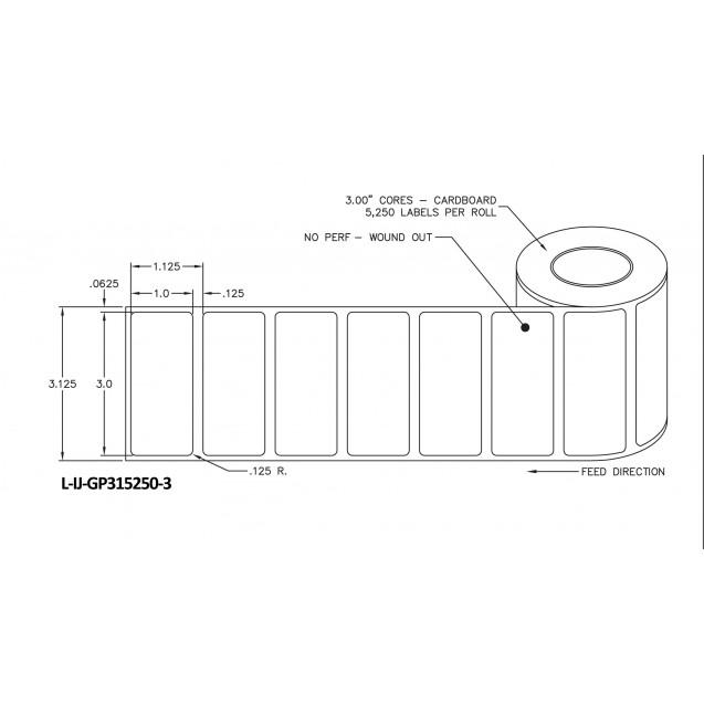"3x1 inkjet gloss paper labels rolls - 8"" roll OD, 3"" core"