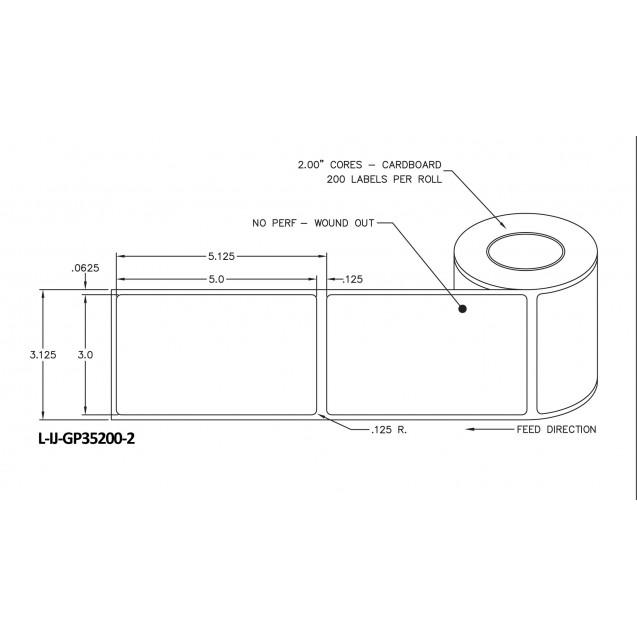 "3x5 inkjet gloss paper labels rolls - 4"" roll OD, 2"" core"