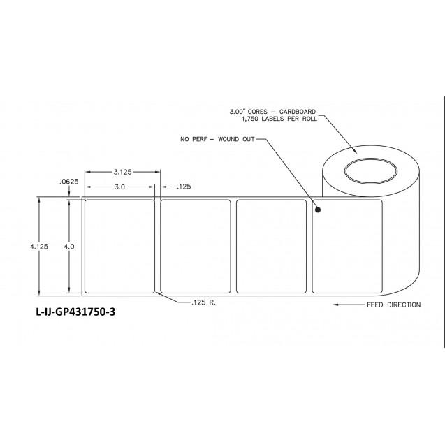 "4x3 inkjet gloss paper labels rolls - 8"" roll OD, 3"" core"