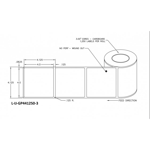 "4x4 inkjet gloss paper labels rolls - 8"" roll OD, 3"" core"