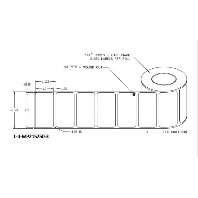 """2x1 inkjet matte paper labels rolls - 8"""" roll OD, 3"""" core"""