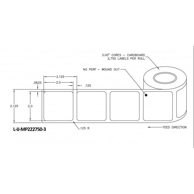 """2x2 inkjet matte paper labels rolls - 8"""" roll OD, 3"""" core"""