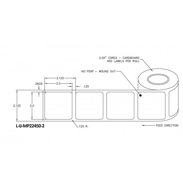 """2x2 inkjet matte paper labels rolls - 4"""" roll OD, 2"""" core"""