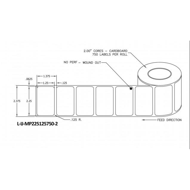 """2.25x1.25 inkjet matte paper labels rolls - 4"""" roll OD, 2"""" core"""