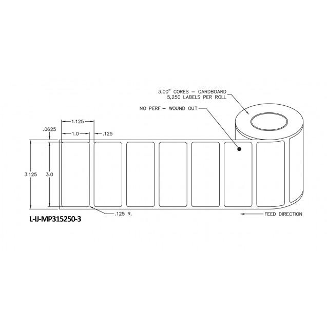 """3x1 inkjet matte paper labels rolls - 8"""" roll OD, 3"""" core"""