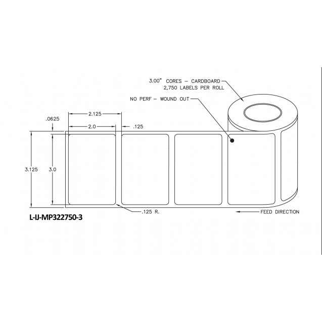"""3x2 inkjet matte paper labels rolls - 8"""" roll OD, 3"""" core"""