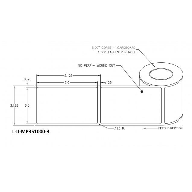 """3x5 inkjet matte paper labels rolls - 8"""" roll OD, 3"""" core"""