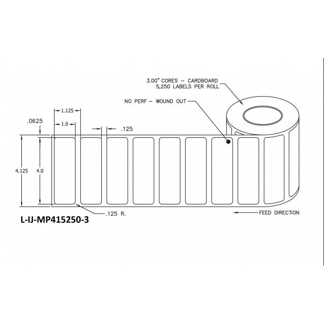 """4x1 inkjet matte paper labels rolls - 8"""" roll OD, 3"""" core"""