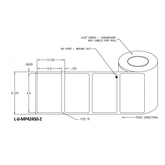 """4x2 inkjet matte paper labels rolls - 4"""" roll OD, 2"""" core"""