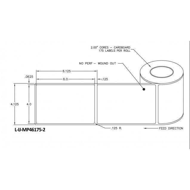 """4x6 inkjet matte paper labels rolls - 4"""" roll OD, 2"""" core"""