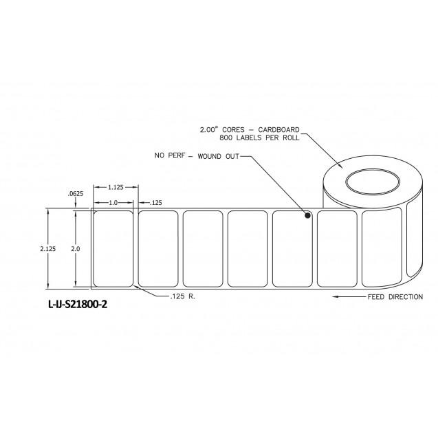 """2x1 inkjet matte film labels rolls - 4"""" roll OD, 2"""" core"""