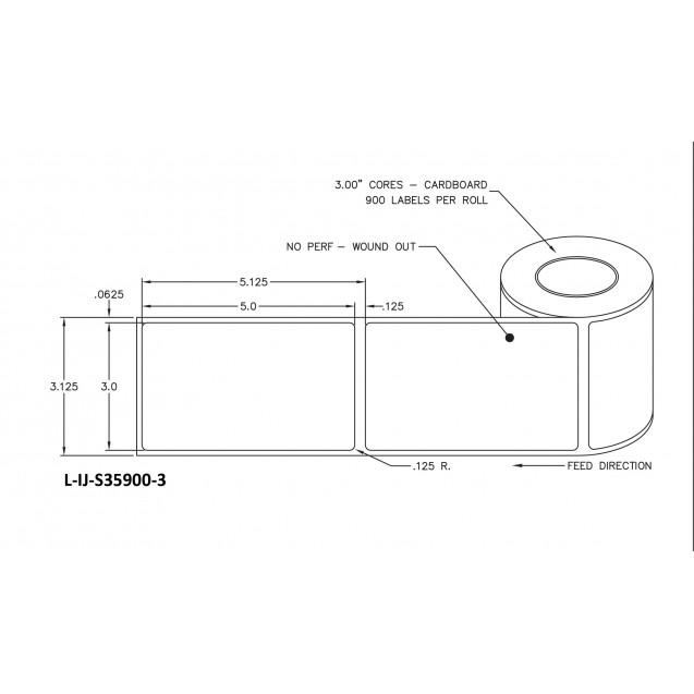 """3x5 inkjet matte film labels rolls - 8"""" roll OD, 3"""" core"""