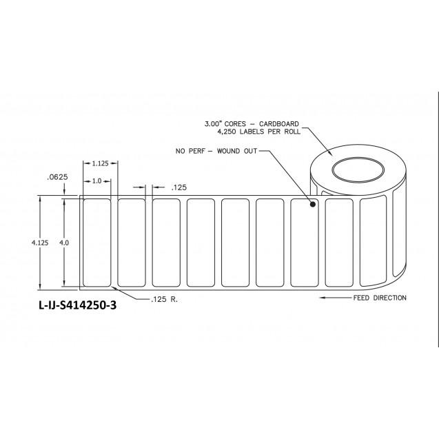 """4x1 inkjet matte film labels rolls - 8"""" roll OD, 3"""" core"""