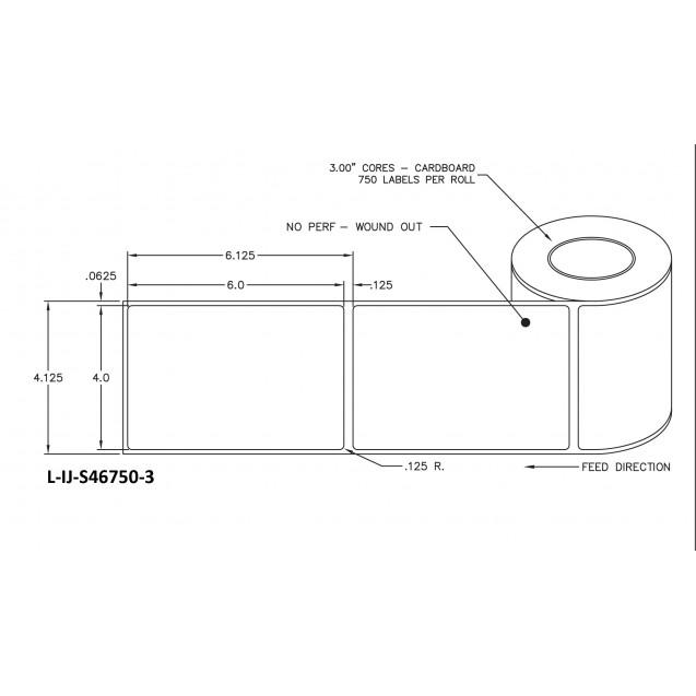 """4x6 inkjet matte film labels rolls - 8"""" roll OD, 3"""" core"""