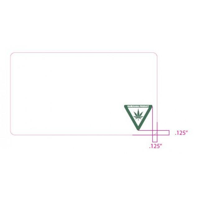 """2.25"""" x 4"""" White Labels with Pre-Printed Michigan Universal Cannabis Symbol"""