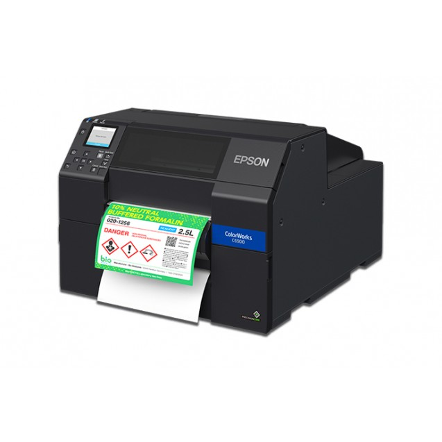 "Epson C6500P 8"" Color Inkjet Label Printer with Peel-and-Present"